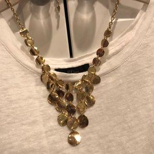 Gold dangling necklace adjustable closure